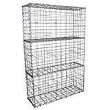 MonsterShop Gabion Baskets Mesh Wire Cages Galvanised Steel Stone Basket Outdoor Spiral Planter Garden Retaining Wall / 100 x 50 x 30cm / 3 Pack