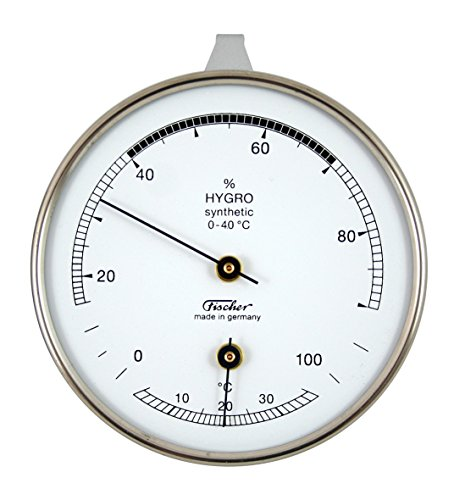 Hygrometer synthetic von Fischer, mit Thermometer 87mm - Life-Design, Artikel 123TCR, Made in Germany