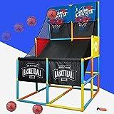 YQZ Juego de Arcade de Baloncesto Doble, Sistema de Tiro de Baloncesto Interior de aro de Baloncesto de Arcade para niños pequeños, Juguetes Deportivos