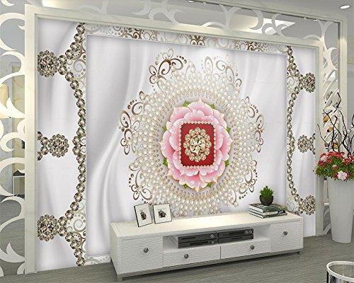 BZDHWWH Benutzerdefiniertes Hintergrundbild Edlen Luxus Pearl Muster 3D Tv Hintergrund Wand Wohnzimmer Schlafzimmer Hintergrund Wandbilder 3D Wallpaper, 190 Cm (H) X 285 Cm (W)