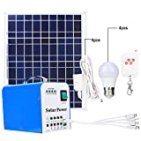 Cargador solar portátil, sistema de alimentación de generador de carga de paneles solares de polisilicio para exteriores de 40 vatios con LED
