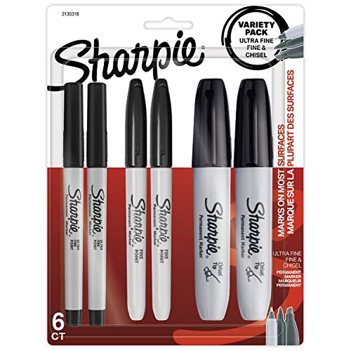 Sharpie Permanent Markers Variety Pack, Featuring Fine, Ultra Fine, and Chisel Point Markers, Black, 6 Count