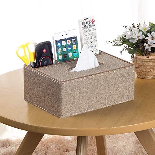 LOXZJYG Multifunción PU Pen Lápiz Lápiz Control Remoto Caja de pañuelos Cubierta de Tapa de la Cubierta Escritorio Caja de Almacenamiento Recipiente para Uso doméstico y de Oficina (Color : Marrón)