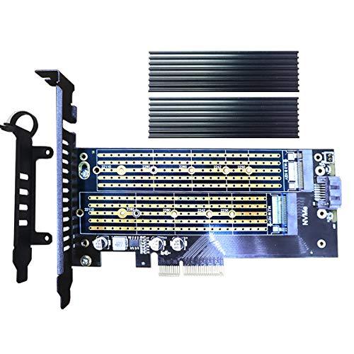 glotrends PCIE M.2 Adapter mit Kühlkörper für NVMe SSD und M.2 SATA SSD, Formfaktor 2230/2242/2260/2280/22110 (PA11-HS)