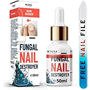 Premium Fungal Nail Destroyer, Suitable for Finger and Toe Nail | Contains Argan Oil and Tea Tree Oil | 50ml | Free Nail File and Nail Brush