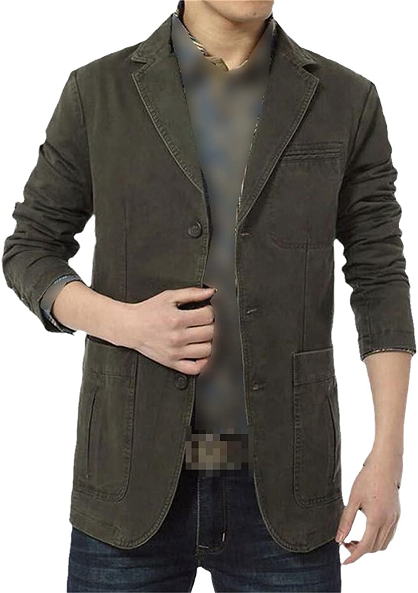 Spring and Autumn Suit Jacket Men's Casual Cotton Denim Jacket Slim Fit Blazer Military Blazer