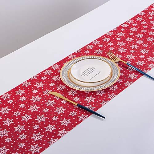 Meilily_Weihnachten Tischläufer Leinen Elegante Tischband Restaurant Tischdeko Schneeflocke Gold Druck Baumwolle Tischdecken Tischtücher Mitteldecke Tischwäsche Weiß Rot Grau Hohe Qualität 28x270CM