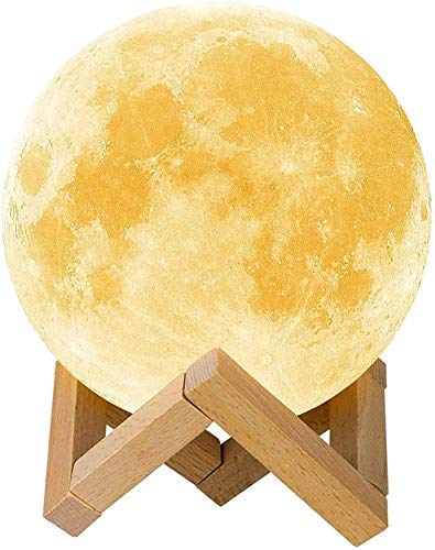 Krevia Moon Lamp PVC 3D USB Rechargeable Moon Lamp with stand For Night Lamp/Gift/Reading/Dinner/Office/Decoration White, Pack of 1