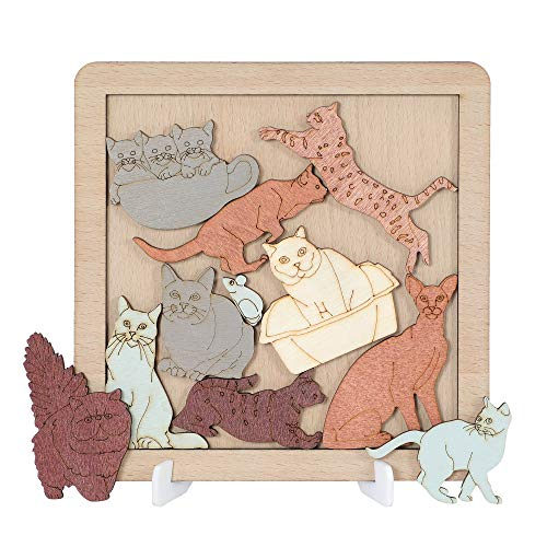 Wooden Tangram Cat Puzzle Brain Teaser Cat Jigsaw Puzzles for Kids and Teens
