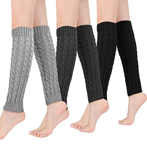 Bearbro Calentadores piernas mujer, 3 Pares de Calentadores Calcetines de Pierna Tejidos de Punto de Invierno de Cable Calcetines Largo de Ganchillo