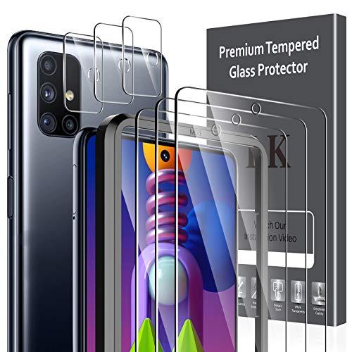 LK 6 Stück Schutzfolie Kompatibel mit Samsung Galaxy M51, 3 Schutzfolie und 3 Kamera Schutzfolie, 9H Härte Schutzfolie, HD Klar Displayschutz, Kratzen Blasenfrei Einfacher Montage
