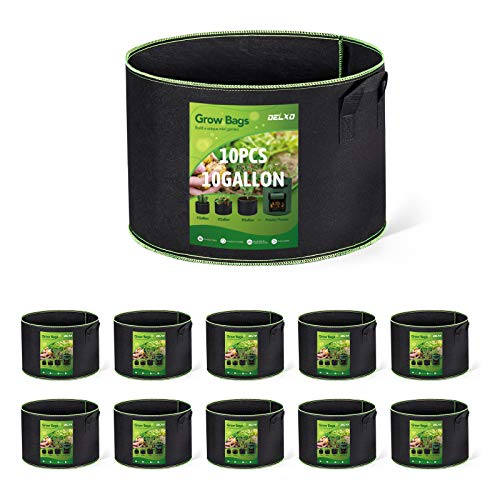 Delxo 10-Pack 10 Gallon Grow Bags Heavy Duty Aeration Fabric Pots Thickened Nonwoven Fabric Pots Plant Grow Bags with Handles