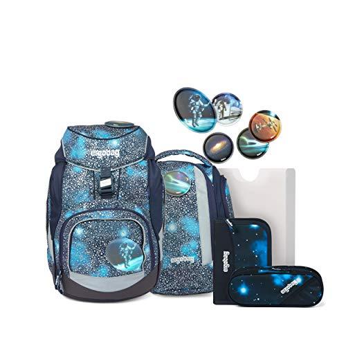 ergobag pack Set - ergonomischer Schulrucksack, Set 6-teilig - Bär Anhalter durch die Galaxis - Blau