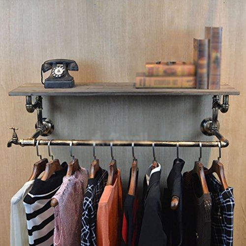 Retro Multifonctionnel Mur Tuyau Fer Cintre Salon Chambre Mode Cintre Mur Industriel Fengshui Vêtements Présentoir (Couleur : B, taille : 30 * 25 * 80cm)