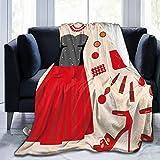 Manta de forro polar ultrasuave para adultos, manta de forro polar, ropa de fiesta y cosméticos, maquillaje femenino, patrón de vestido de noche, suave y cómoda, manta de sofá de 50 x 40 pulgadas