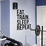 Sleep Repeat Fitness Wall Decal Quote For Gym Kettlebell Crossfit Motivational Quotes Art Stickers Home Decor 56X76 Cm