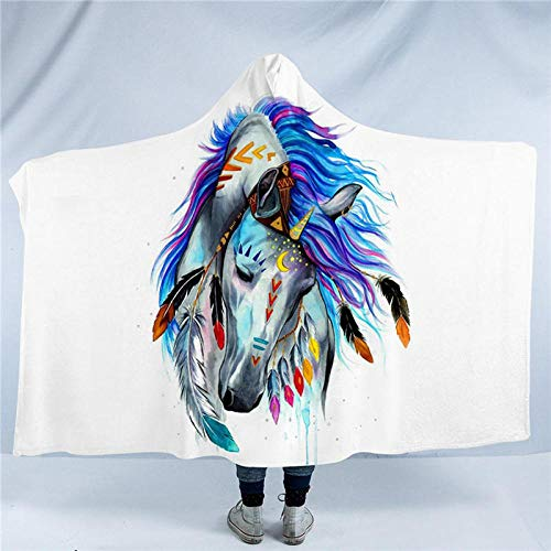 WWTZ Pferd por Pixie Cold Art Manta con Capucha Colorido Indio Animal Suave Sherpa Vellón Acuarela Tribal Caballo Manta de Tiro portátil