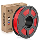 TPU Filament 1.75mm Flexible, 3D Printer Filament Dimensional Accuracy +/- 0.03 mm, 0.5 Kg Spool, Red