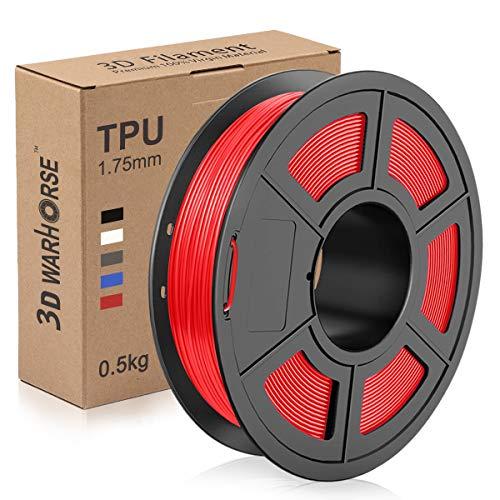 TPU Filament 1.75mm Flexible, 3D Printer Filament Dimensional Accuracy +/- 0.03 mm, 0.5 Kg Spool, Red