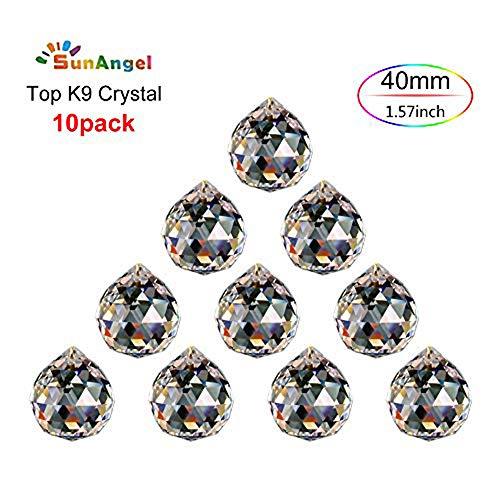 SunAngel Top k9 Faceted Prism Crystal Ball Sun Catcher Rainbow Pendants MakerChandelier Drops CrystalPrism WindowsDecor Crystal Pendant Hanging Crystals Prisms 40MM Clear Prism Balls10Pack