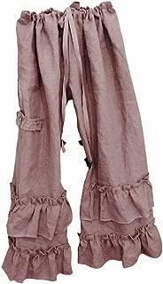 JOFOW Womens Wide Leg Pants Solid Ruffle Loose Long High Waist Trousers