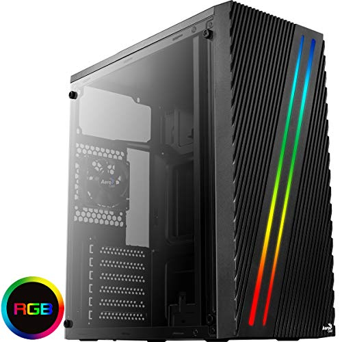 Aerocool STREAK - ATX PC-Box, RGB 18-Modi, Seitenwand, 80-mm-Lüfter