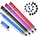 """Bargains Depot (4Pcs) [New Upgraded] 2-in-1 Universal Capacitive Stylus/styli 5.5""""L with 20 Pcs Replacement Rubber Tips - (Black/Blue/Purple/Red)"""