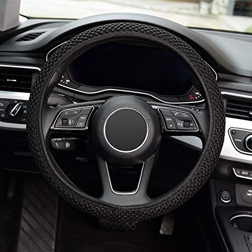 KAFEEK Elastic Stretch Steering Wheel Cover,Warm in Winter and Cool in Summer, Universal 15 inch, Microfiber Breathable Ice Silk, Anti-Slip, Odorless, Easy Carry,Black