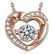 Dancing Heart Damen Kette 925 Sterling Silber 5A Zirkonia Rosé Vergoldung Halskette mit Anhänger Weihnachtsgeschenke Schmuck Geschenke zum Geburtstag Jubiläum Mutter Tochter Mädchen FrauenSie