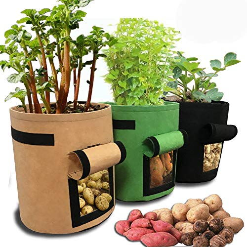 SODIAL Sac de Culture de Pommes de Terre,Paquet de 3 Sac de Planter à Pommes de Terre,Double Couche Haute Qualité Respirant avec Poignées de Sangle pour Pommes de Terre/Carottes