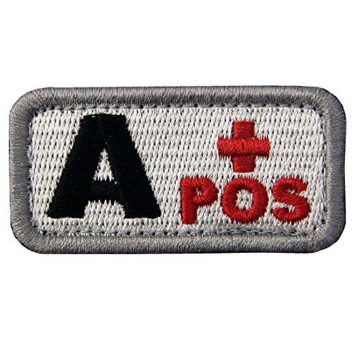 Táctico Tipo A positivo Tipo de sangre emblema Broche Bordado de Gancho y Parche de Gancho y bucle de cierre, Negro rojo