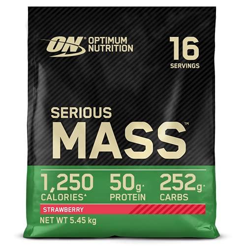 Optimum Nutrition ON Serious Mass Hochkalorisches Weight Gainer Protein Pulver, Whey Protein, Vitamine, Kreatin und Glutamin, Strawberry, 16 Portionen, 5,45kg, Verpackung kann Variieren