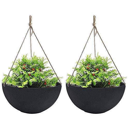La Jolíe Muse Large Hanging Planters for Outdoor Indoor Plants, Black Hanging Flower Pots with...
