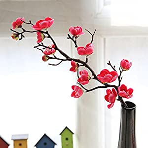 Vibola 1pcs Artificial Plum Blossom 60cm Floral Arrangement Cherry Blossoms Home Decoration Wedding Fake Flowers arreglos florales Artifical (Vase not Included) (Hot Pink)