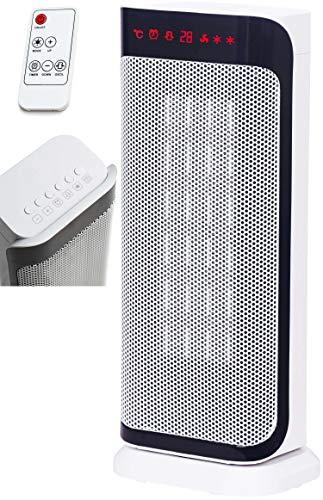 Keramik Heizlüfter | 3 Stufen, kalt, 1000, 2000 Watt | Oszillierend | 8h Timer | Fernbedienung | Temperaturanzeige | Temperatureinstellung von 10-35°C | Heizgerät | Elektroheizer | Elektroheizung