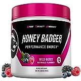Honey Badger Vegan Keto Pre Workout | Wild Berry | Natural Paleo Sugar Free Pump Energy Supplement Nootropics Amino Acids Nitric Oxide Sucralose Free + Non Habit Forming | 30 Serving