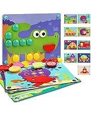 Houten Kinderpuzzel 8 in 1 - Educatief Speelgoed voor Jongens Meisjes 2 3 4 jaar - Puzzel met 8 Kleurrijke Ontwerpen + Houten Basis + 38 Onderdelen om de Creativiteit en Verbeelding te Ontwikkelen