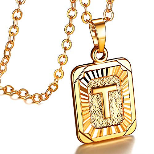 FOCALOOK Gold Initial Letter Pendant Necklace Mens Womens Yellow 18K Gold Plated Square Script Capital Initial Jewelry Stainless Steel Ajustable Gold Chain 22 Inch Monogram Necklace Gift (Alphabet T)