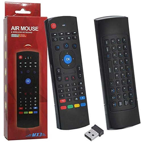 Controle Mini Teclado Air Mouse Wireless Sem Fio Android Pc Tv MX3 MX-3A Preto