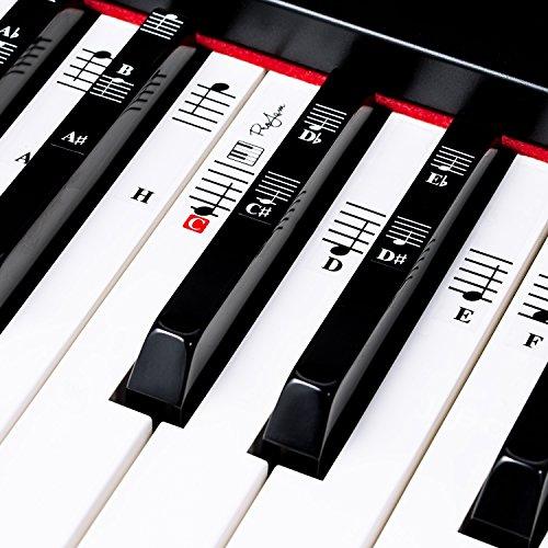ProJam Keyboard & Klavier Aufkleber für 49 | 61 | 76 | 88 schwarze + weiße Tasten - Noten lernen für Kinder und Erwachsene - Piano Sticker - Inkl. Gratis E-Book