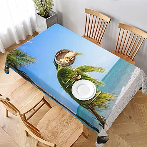 Mantel Rectangular,Escena de la Playa de Key West,Manteles Lavable Antimanchas de Mantel para jardín Habitaciones decoración de Mesa 152x228cm