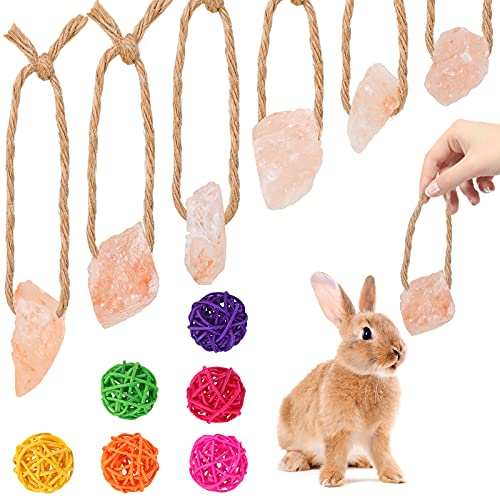 12 Pieces Himalayan Small Pets Lick Salt Block on Rope Set Including 6 Colorful Pet Chew Rattan Balls and 6 Himalayan Salt Lick Small Pet Mineral Salt Chew Treat for Guinea Pig (Mixed Colors)