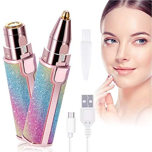 Épilateur de poils du visage pour femme, sans douleur, 2 en 1, électrique rechargeable, rasoir à sourcils et poils du visage, avec lumière LED pour le visage, le bikini, les lèvres, le nez,