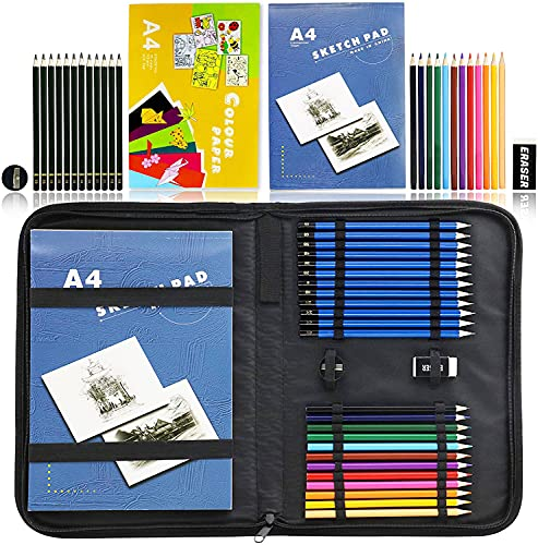 LUCYCAZ Travel Drawing Art Set - Start to Drawing Set, Art Supplies for Kids, Teens and Adults, with Coloring and Sketching Pencils, Sketch Pads and Origami Papers, Eraser and Sharpener