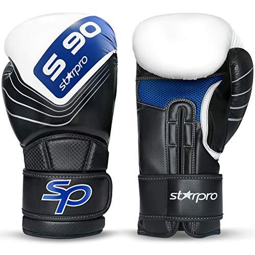 Starpro S90 Guantes de Boxeo de Cuero PU para Entrenamiento Profesional y Sparring en Muay Thai Kickboxing Fitness - Hombres y Mujeres - Negro y Azul - 8 oz 10 oz 12 oz 14 oz 16 oz