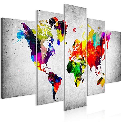 murando Quadro Mappapa del mondo 200x100 cm 5 pezzi Stampa su tela in TNT XXL Immagini moderni Murale Fotografia Grafica Decorazione da parete Continente World Mappa Astratto grigio k-C-0118-b-m