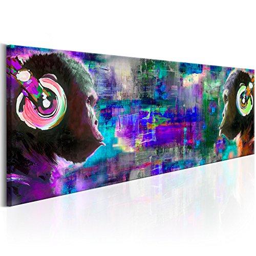 murando - Bilder 135x45 cm Vlies Leinwandbild 1 TLG Kunstdruck modern Wandbilder XXL Wanddekoration Design Wand Bild - Schimpanse AFFE Musik bunt g-A-0107-b-d