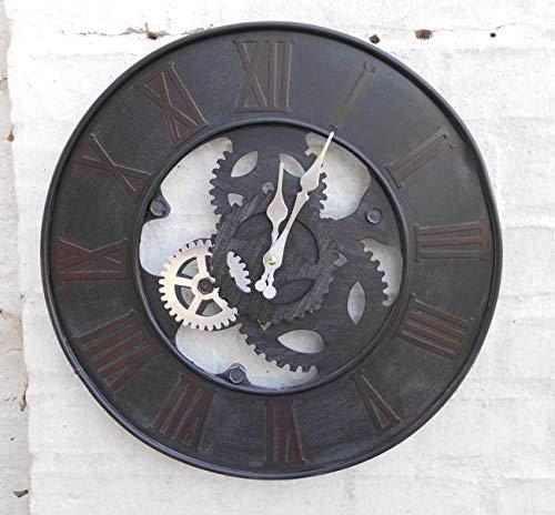 Deko-Impression Wanduhr Zahnrad Loftstyle Industrie-Style Eisen schwarz 39 cm