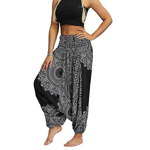 Mujer Pantalones Hippies tailandeses Estampado Verano Cintura Alta Elastica con Bolsillos para Yoga Casual Pantalones de Danza para Mujer Pantalones de Yoga tailandeses Pantalones de harén