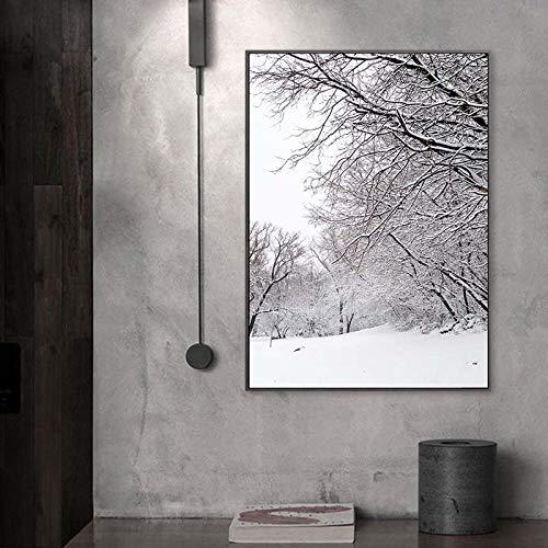 qggbgv Paisaje de montaña de Nieve, Pintura en Lienzo, Invierno, Naturaleza, Arte, póster,Estilo, Cuadros de Pared para Sala de Estar, 50X70cmX1 (sin Marco
